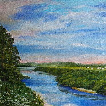 Картины и панно ручной работы. Ярмарка Мастеров - ручная работа Картины: картина маслом, Нежное утро на реке. Handmade.