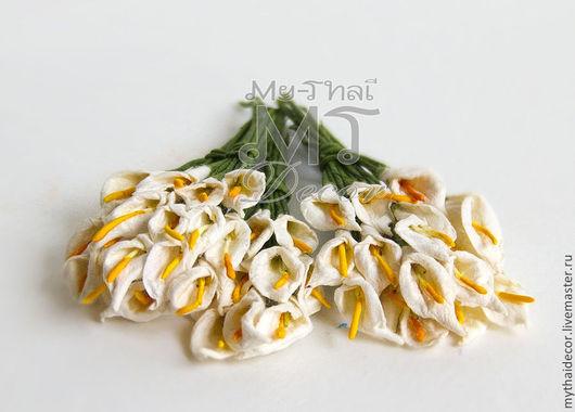 50 шт. Цветы бумажные `Каллы`  My Thai Decor. Материалы для декора из Таиланда