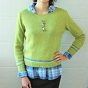 Одежда ручной работы. Ярмарка Мастеров - ручная работа Зеленый пуловер (вязаный) 100% пух норки. Handmade.