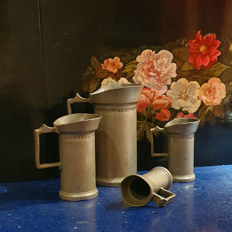 Винтаж: Набор старинных мерных стаканов из олова 1916 г, Винтажная кухонная утварь, Москва,  Фото №1