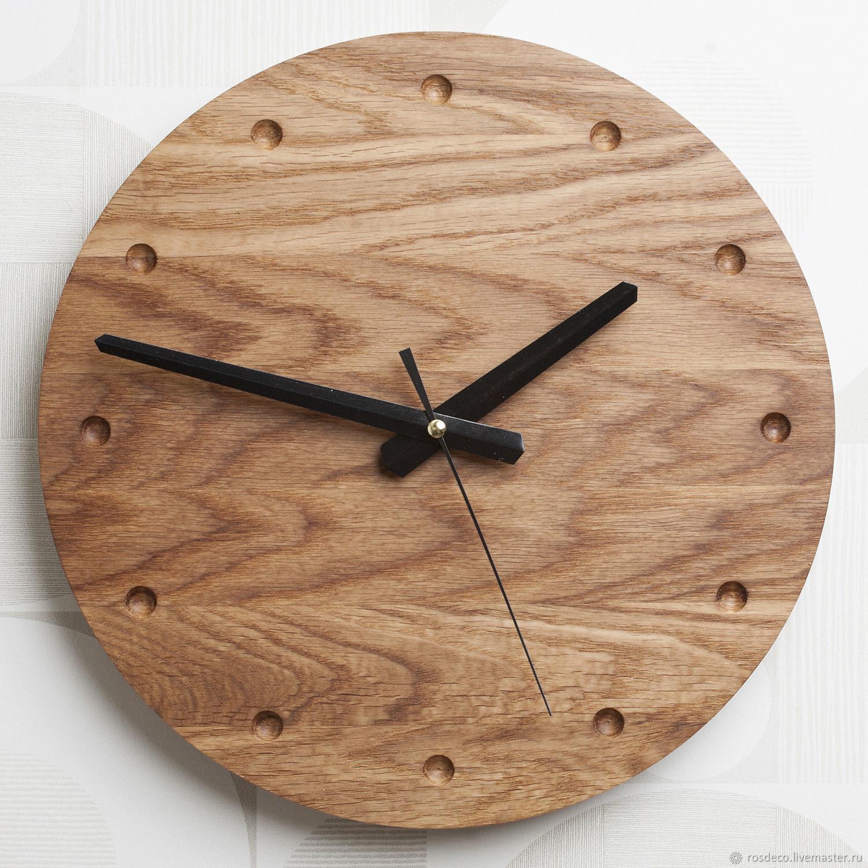 Настенные круглые часы из дуба №33, Часы классические, Раменское,  Фото №1
