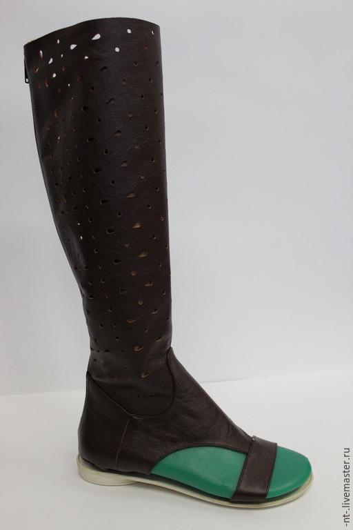 """Обувь ручной работы. Ярмарка Мастеров - ручная работа. Купить летние сапожки """"Амазонка"""". Handmade. Коричневый, кожа, сапоги"""