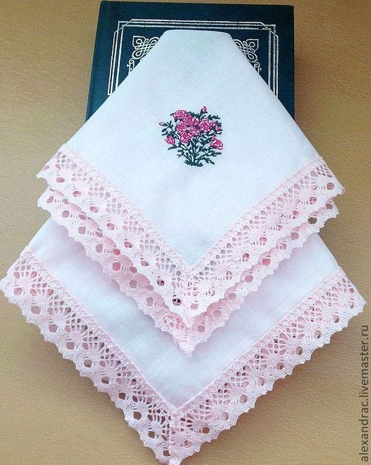 """Носовые платочки ручной работы. Ярмарка Мастеров - ручная работа. Купить Дамский платочек """" Розовое настроение"""". Handmade."""