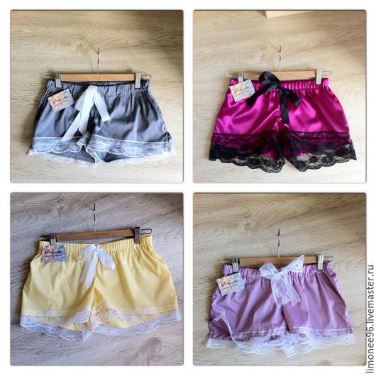 Домашние шортики, шорты, пижама. Прекрасный и оригинальный подарок девушке! Имеются шортики на любой вкус и цвет!