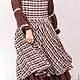 Платья ручной работы. Ярмарка Мастеров - ручная работа. Купить Коричневое платье Бохо в клетку. Handmade. Коричневый, пошив на заказ