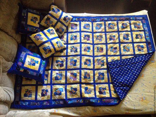 Текстиль, ковры ручной работы. Ярмарка Мастеров - ручная работа. Купить Детское лоскутное одеяло/покрывало с 4 подушками в стиле печворк. Handmade.