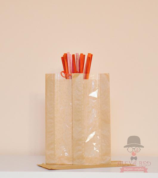 Упаковка ручной работы. Ярмарка Мастеров - ручная работа. Купить 30х12х6 см с окном упаковочный беж.. Handmade. Крафт-пакет
