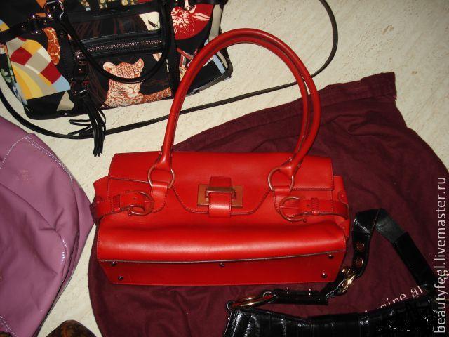 Винтажные сумки и кошельки. Ярмарка Мастеров - ручная работа. Купить Винтаж: Красная сумка оригинал Ferragamo брендовая Италия. Handmade.