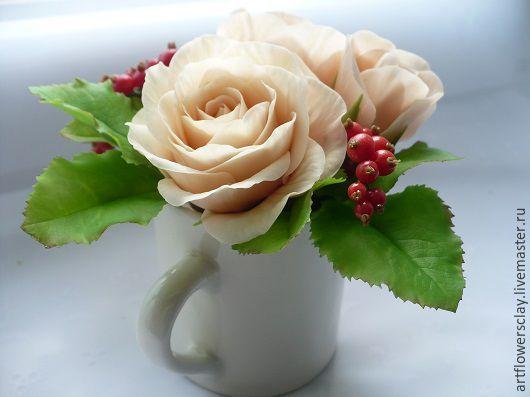 Букеты ручной работы. Ярмарка Мастеров - ручная работа. Купить Композиция в молочнике из полимерной глины.. Handmade. Розы ручной работы
