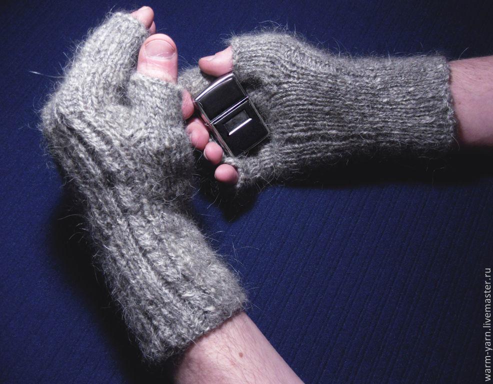 Mens Knitted Fingerless Gloves This Brutal Grey Shop Online On
