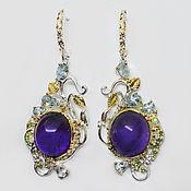 Украшения handmade. Livemaster - original item 925 sterling silver earrings with amethysts cabochons topaz and chrome diopsides. Handmade.