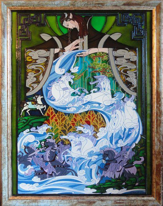 Роспись на стекле витражными красками, по мотивам картины китайского художника Jian Guo.