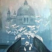 Утренний туман... И голуби. Картина маслом, холст.