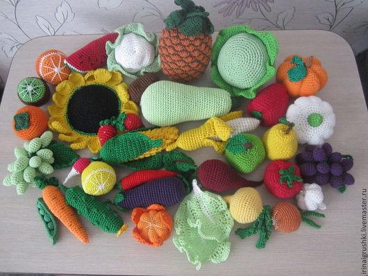 Еда ручной работы. Ярмарка Мастеров - ручная работа. Купить Большой набор овощей/фруктов/ягод. Handmade. Вязаные овощи, фрукты