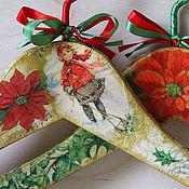 Для дома и интерьера ручной работы. Ярмарка Мастеров - ручная работа Вешалки плечики новогодние. Handmade.