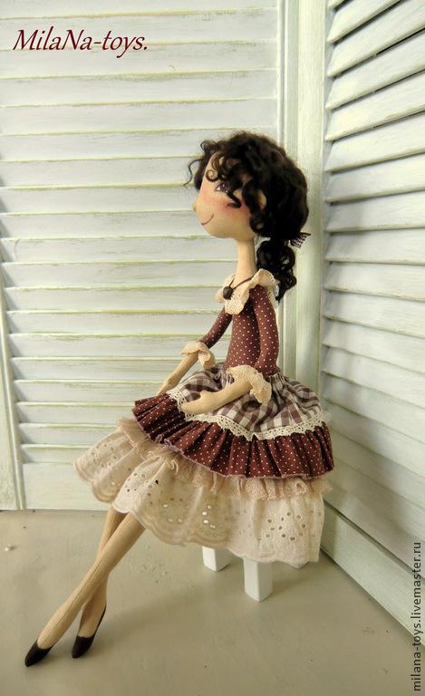 Куклы тыквоголовки ручной работы. Ярмарка Мастеров - ручная работа. Купить Адель. Handmade. Коричневый, подарок, ленты атласные