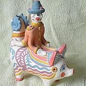 """Народные сувениры ручной работы. Ярмарка Мастеров - ручная работа Курская игрушка, свисток """" Перевертыш"""". Handmade."""