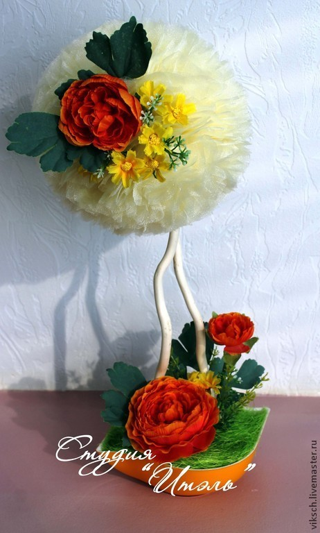 """Топиарии ручной работы. Ярмарка Мастеров - ручная работа. Купить Топиарий    """"Нежность  заката"""". Handmade. Разноцветный, пион из ткани"""