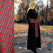 Одежда ручной работы. Ярмарка Мастеров - ручная работа Черное трикотажное платье с корсажным поясом. Handmade.