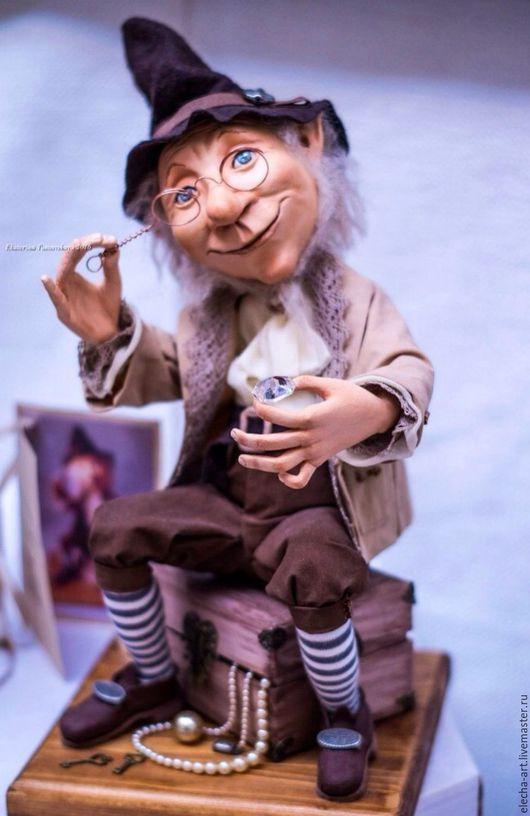 Коллекционные куклы ручной работы. Ярмарка Мастеров - ручная работа. Купить Авторская кукла из полимерной глины Гном - ювелир. Handmade.