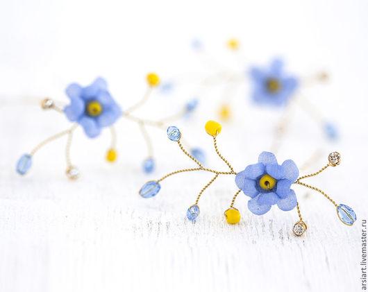 Заколки ручной работы. Ярмарка Мастеров - ручная работа. Купить Синие шпильки цветы. Со стразами. Шпильки для невесты. Шпильки золото.. Handmade.