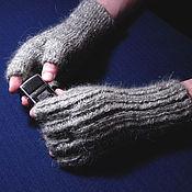 Аксессуары handmade. Livemaster - original item Men`s knitted fingerless gloves `This brutal grey`. Handmade.