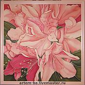 Картины и панно ручной работы. Ярмарка Мастеров - ручная работа Платок или панно Рододендроны. Handmade.