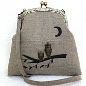 "Сумка с фермуаром ручной работы. Ярмарка Мастеров - ручная работа Сумка ""Совушки"" на фермуаре, льняная сумка. Handmade."