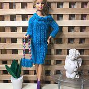 Одежда для кукол ручной работы. Ярмарка Мастеров - ручная работа Голубое модное свитер-платье с открытыми плечами. Handmade.