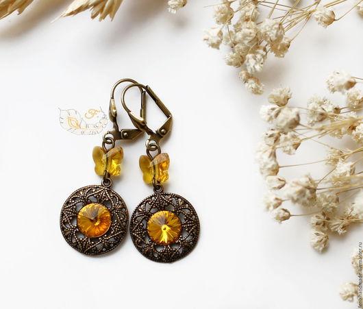 """Серьги ручной работы. Ярмарка Мастеров - ручная работа. Купить Серьги """"Солнечные бабочки"""". Handmade. Оранжевый, латунь, солнечный, бабочка"""