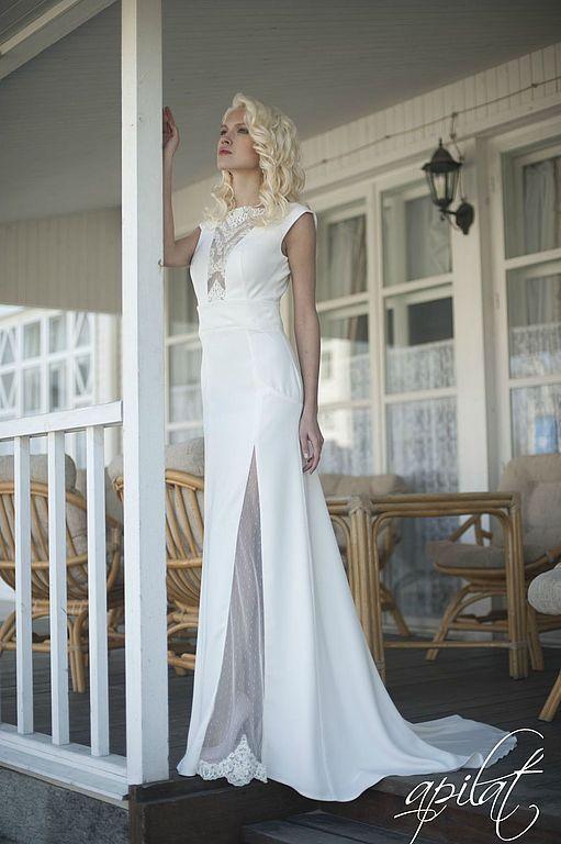 Одежда и аксессуары ручной работы. Ярмарка Мастеров - ручная работа. Купить Свадебное платье с открытой спиной L-16. Handmade.