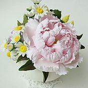 Цветы и флористика ручной работы. Ярмарка Мастеров - ручная работа Сахарница с пионом, розами и ромашками. Handmade.