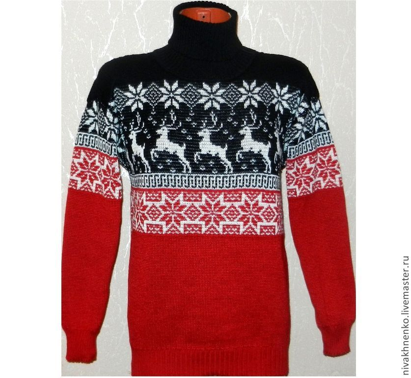 Sweater with reindeer and Norwegian ornament knitted Red and black, Sweaters, Moscow, Фото №1