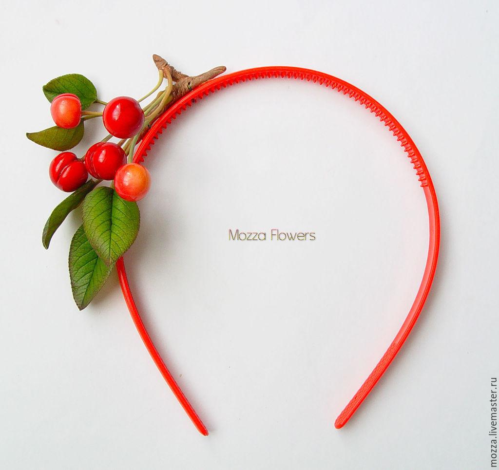 Bezel 'cherries' made of polymer clay, Headband, Zarechny,  Фото №1