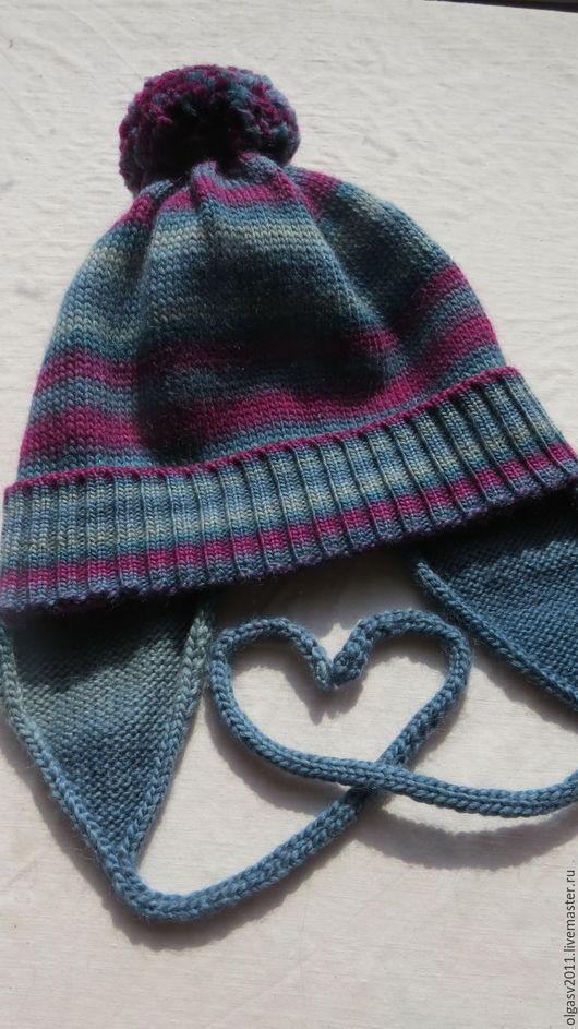 Шапки и шарфы ручной работы. Ярмарка Мастеров - ручная работа. Купить Осенняя шапочка для девочки из мериноса и шелка. Handmade.
