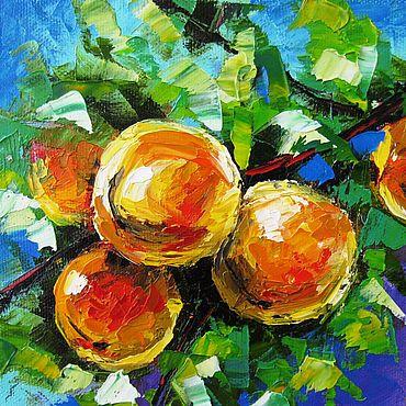 Картины и панно ручной работы. Ярмарка Мастеров - ручная работа Небольшая картина маслом Персики. Handmade.