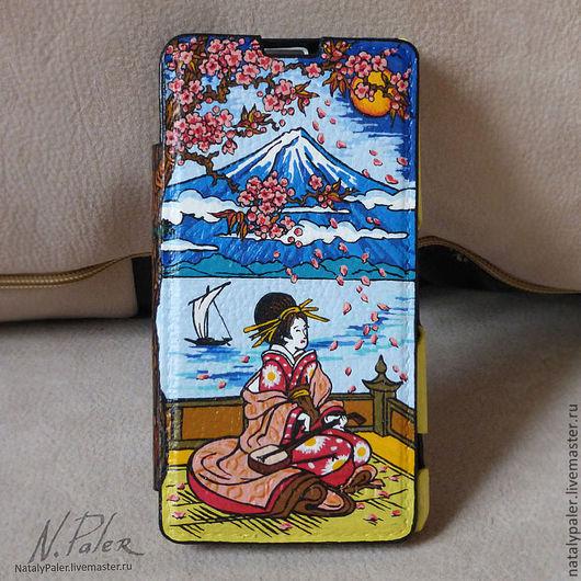 """Для телефонов ручной работы. Ярмарка Мастеров - ручная работа. Купить роспись чехла для телефона. """"Мотивы Японии"""". Handmade. Рисунок"""