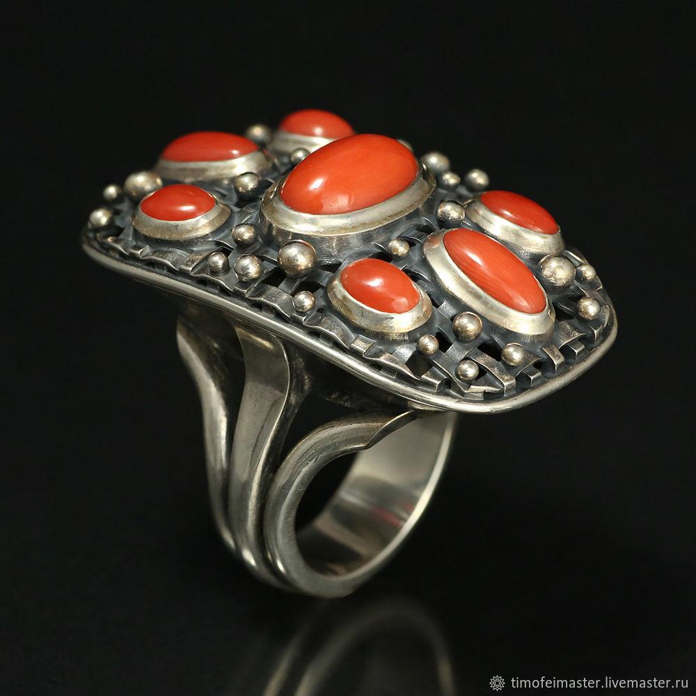 Серебряное кольцо с кораллом. Натуральный средиземноморский коралл, Кольца, Москва,  Фото №1