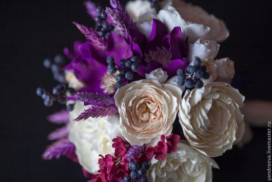 """Свадебные цветы ручной работы. Ярмарка Мастеров - ручная работа. Купить Букет невесты """"Восточная ночь"""". Handmade. Пионовидная роза"""