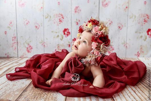 """Детская бижутерия ручной работы. Ярмарка Мастеров - ручная работа. Купить Шапочка для фотосессии новорождённой с цветочным декором """"Осенняя"""". Handmade."""