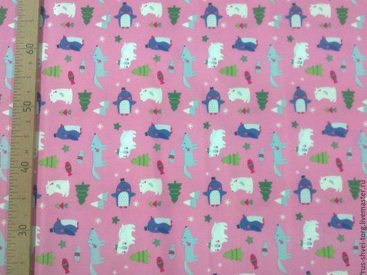 Ткань курточная 240T PONGEE WR PU MILKY. Рисунок `Пингвины-волки на розовом`