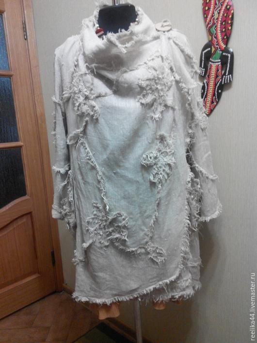 Верхняя одежда ручной работы. Ярмарка Мастеров - ручная работа. Купить Летнее пальто из вареного льна. Handmade. Белый