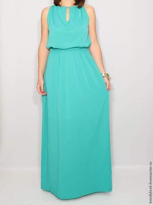 Платья ручной работы. Ярмарка Мастеров - ручная работа. Купить Бирюзовое платье из шифона, длинное летнее платье. Handmade. платье