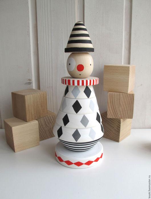 """Развивающие игрушки ручной работы. Ярмарка Мастеров - ручная работа. Купить монохромная пирамидка """"Клоун"""". Handmade. Чёрно-белый, цирк"""