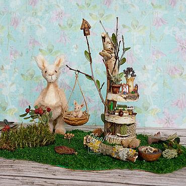 Dolls & toys handmade. Livemaster - original item Kangaroo family and glade house. Handmade.
