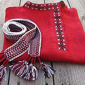 Русский стиль handmade. Livemaster - original item Red shirt linen blouse with embroidery. Handmade.