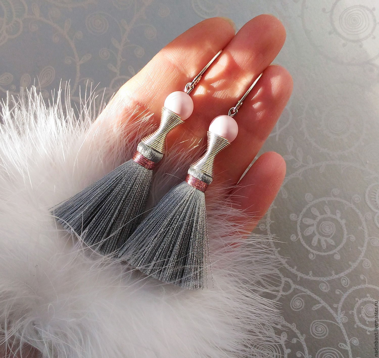 Earring of the brush 'Grey Rose' silk, Swarovski, Tassel earrings, St. Petersburg,  Фото №1