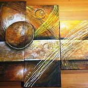 """Картины и панно ручной работы. Ярмарка Мастеров - ручная работа Модульная картина """" Оранжевое золото планет"""". Handmade."""