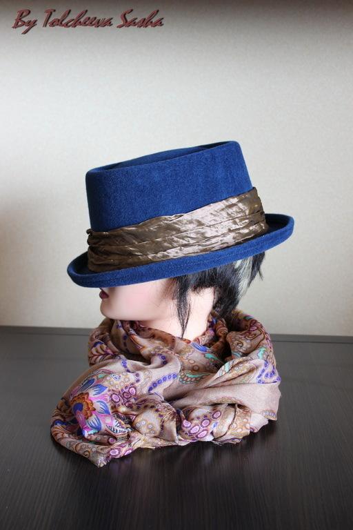 Шляпы ручной работы. Ярмарка Мастеров - ручная работа. Купить Синяя необычайность :) шляпа женская.. Handmade. Тёмно-синий