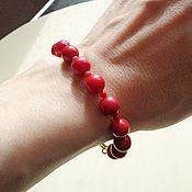 Украшения handmade. Livemaster - original item Natural coral bracelet with gold (14K Gold Filled). Handmade.